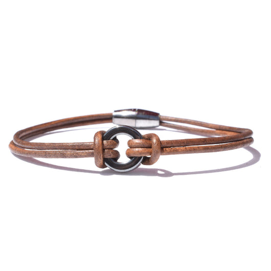 Brown Leather Ring Bracelet