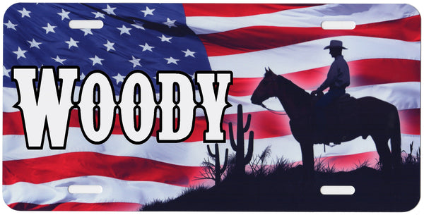 Cowboy with US Flag Auto Tag