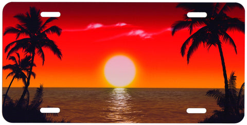 Full Color Tropical Sunset Auto Tag