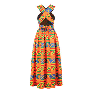 Bold and Vibrant Multi Style Wrap Ethnic Print Maxi Summer Dress in Two Variants
