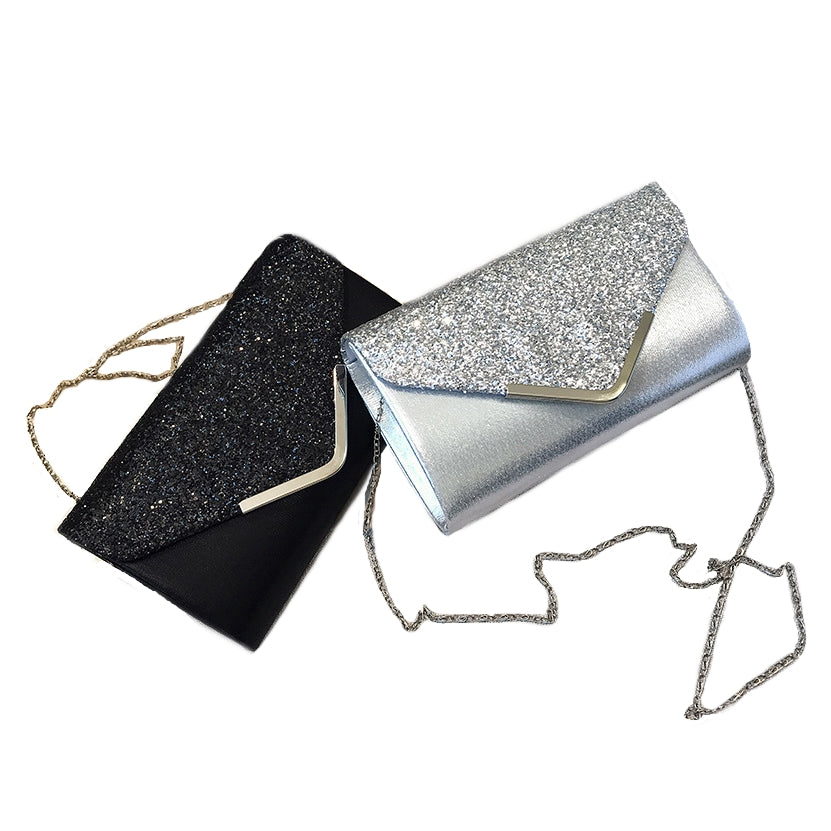 Women's Elegant Evening Clutch Handbag with Chain Shoulder Strap in Various Beautiful Colours