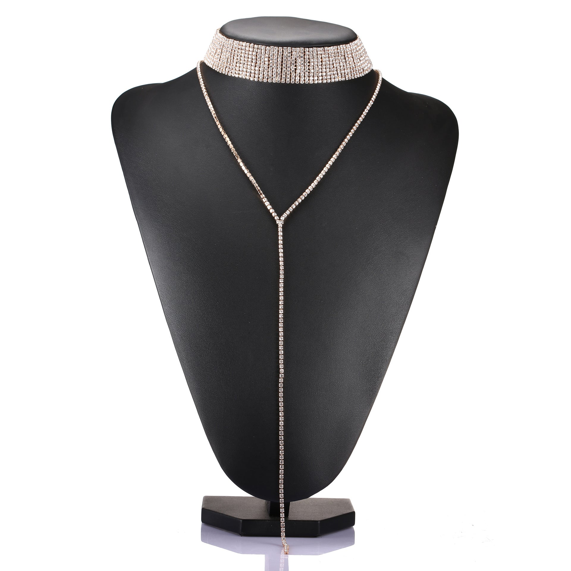 Diamanté Choker and Long Evening Wear Fashion Necklace in Silver, Gold or Red - BELLADONNA