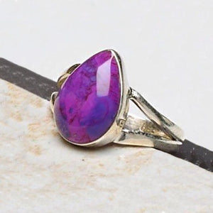 Purple Copper Turquoise & Solid .925  Silver Ring Size 8 - BELLADONNA