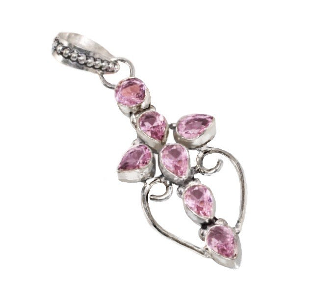 Faceted Pink Topaz Gemstone .925 Silver Cross Pendant - BELLADONNA