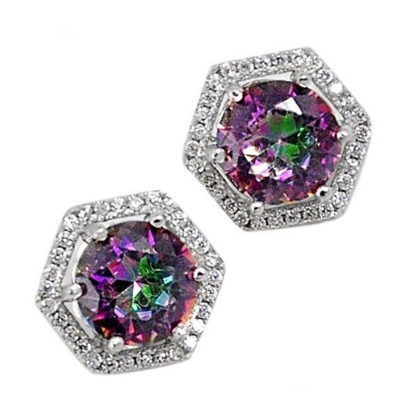 Rainbow Mystic Topaz, White Topaz Stud Earrings In Solid .925 Sterling Silver - BELLADONNA