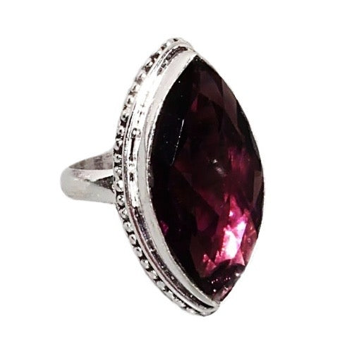 African Purple Amethyst Gemstone 925 Silver Ring Size 9.75 - BELLADONNA