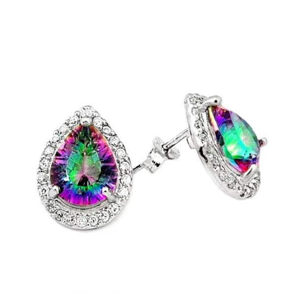 8.75 Cts Rainbow Mystic White Topaz Stud Earrings In Solid .925 Sterling Silver - BELLADONNA