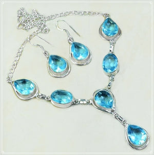 Faceted Blue Apatite Pears .925 Sterling Silver Necklace and Earrings Set - BELLADONNA