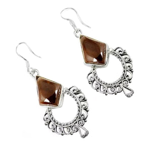 10.93 Cts Natural Smoky Quartz .925 Sterling Silver Earrings - BELLADONNA