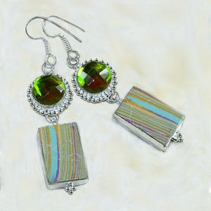 Stunning Rainbow Topaz, Mosaic Jasper Gemstone .925 Silver Earrings - BELLADONNA