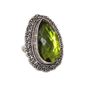 Faceted Antique Style Peridot Pear Gemstone .925 Silver Ring Size 7 - BELLADONNA