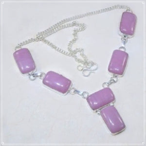 Gorgeous Pink Jade Gemstone .925 Silver Necklace - BELLADONNA