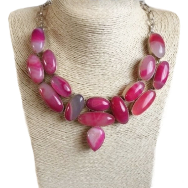 Statement Piece Natural Pink Botswana Lace Agate Gemstone .925 Silver Necklace - BELLADONNA