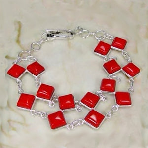 Double Row Handmade Red Coral Gemstone  925 S /Silver Bracelet - BELLADONNA