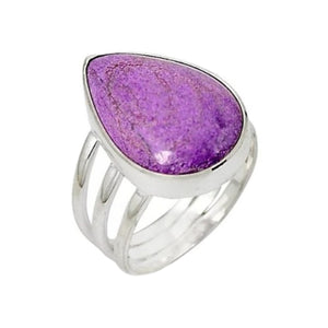 11.59 cts Natural Purpurite in Variscite Gemstone Solid .925 Sterling Silver Ring Size 8 - BELLADONNA
