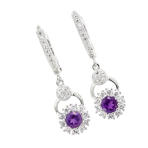 5mm Brazil Purple Amethyst .925 Sterling Silver Earrings- February Birthstone - BELLADONNA
