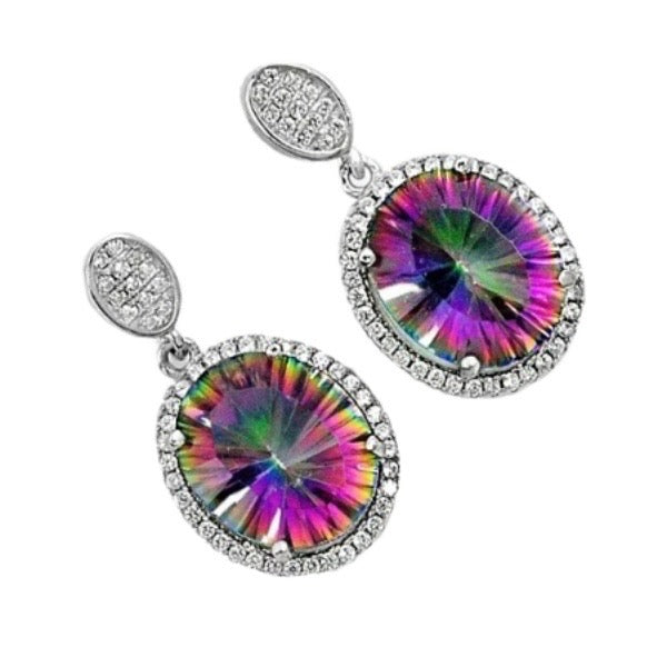 13.71 Cts Rainbow Mystic Topaz, White Topaz Studs In Solid .925 Sterling Silver - BELLADONNA