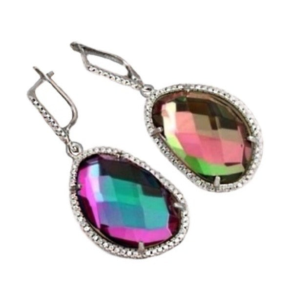 31.68 Cts Multicolor Rainbow Topaz Leverback In Solid .925 Sterling Silver - BELLADONNA