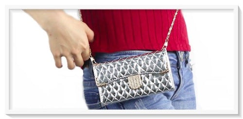 Silver Chain Style Diamond Bling Pouch Handbag/Wallet Case For Samsung Galaxy S5 I9 - BELLADONNA