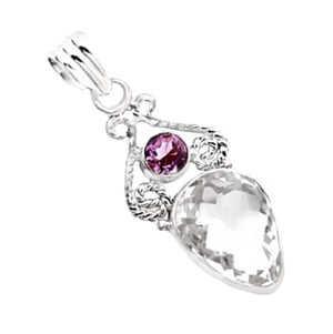 13.84 Cts Natural Purple Amethyst, White Topaz Pendant .925 Solid Sterling Silver - BELLADONNA