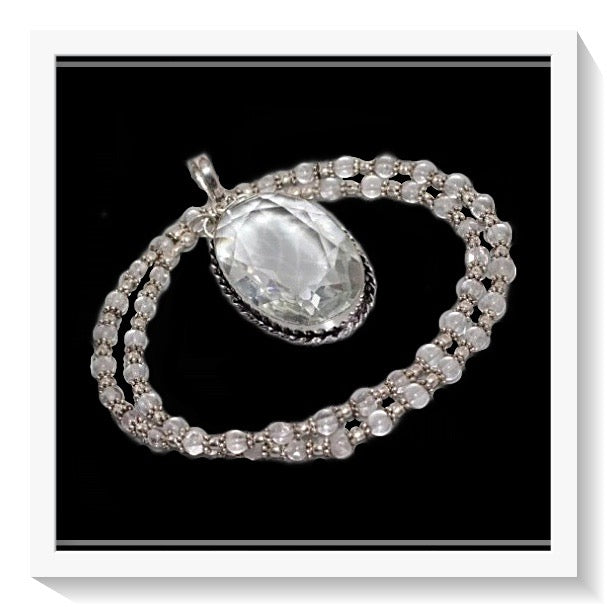 Clear Quartz Gemstone Silver Necklace & Pendant - BELLADONNA