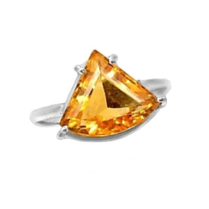 Trillion Cut Natural Citrine Quartz Solid .925 Sterling Silver Ring Size 10 - BELLADONNA