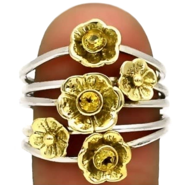 Natural Citrine Quartz Two Tone Solid .925 Sterling Silver Stacking Ring Size 9 - BELLADONNA