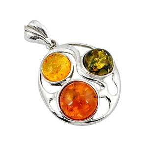 8.41 Cts Genuine Columbian Orange/ Green Amber In Solid .925 Silver Pendant - BELLADONNA