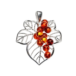 Exquisite Genuine Baltic Amber In Solid .925 Silver Pendant - BELLADONNA
