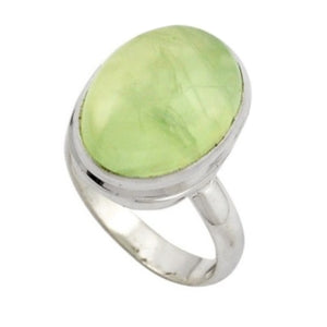 10.30 cts Soft Green Scottish Moss Prehnite Gemstone Solid .925 Sterling Silver Ring Size 7 - BELLADONNA