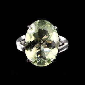 29.01 CT Natural Oval Green Amethyst Prasiolite Gemstone .925 Silver Ring Size 8 - BELLADONNA