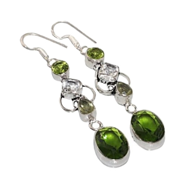 Handmade Elegant Peridot, White Topaz Gemstone .925 Sterling Silver Earrings - BELLADONNA
