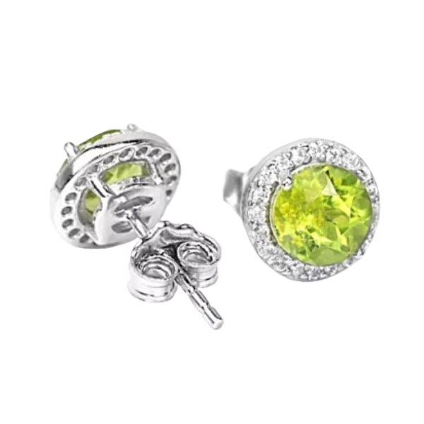 Natural Unheated Peridot, White Cubic Z Gemstone Solid .925 Sterling Silver Earrings - BELLADONNA