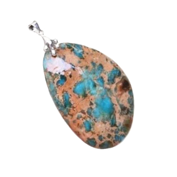 Wonder of Nature Natural Sea Sediment Jasper Gemstone . 925 Silver Pendant - BELLADONNA