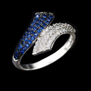 11,85 Cts Top Grade Blue And White Cubic Zirconia Solid 925 Silver Ring Size 6 - BELLADONNA