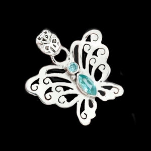 Petite Blue Topaz Solid 925 Sterling Silver Butterfly Pendant - BELLADONNA