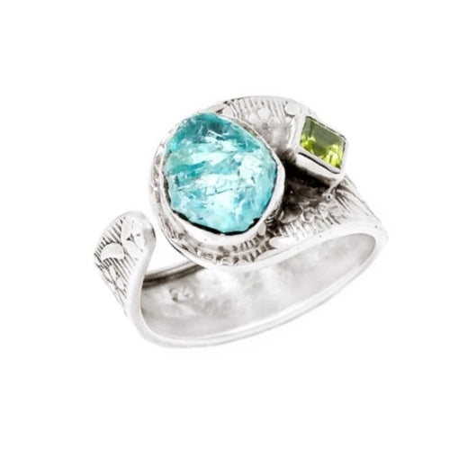 Natural Rough Neon Blue Apatite, Peridot Gemstone Solid .925 Silver Ring Size 9 - BELLADONNA