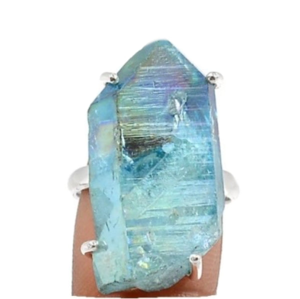 Aqua Aura Quartz Gemstone Solid .925 Sterling Silver Ring Size 8 - BELLADONNA
