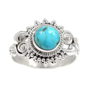 Natural Sleeping Beauty Turquoise, Gemstone Solid .925 Silver Ring Size 7 - BELLADONNA