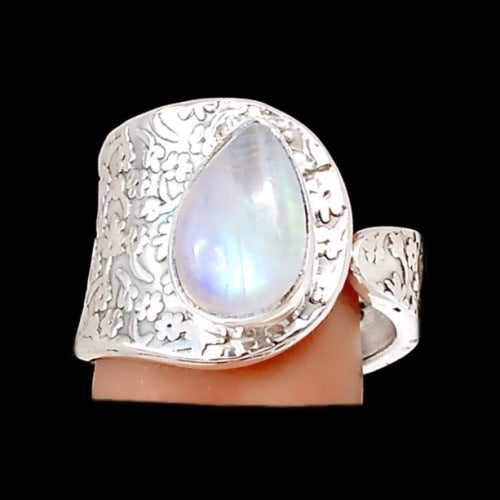 Natural Rainbow Moonstone Solid .925 Silver Ring Size 8 - BELLADONNA