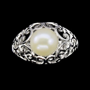 26.84 Cts Natural Creamy White Pearl , AAA Cz Solid .925 Silver Size 8.5 - BELLADONNA
