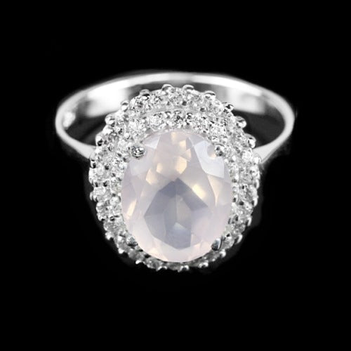 10 X 8 mm Natural Rose Quartz, Cubic Zirconia Solid.925 Sterling Silver Ring Size 6.75 - BELLADONNA