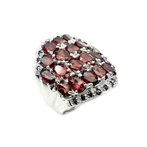 79.78 Cts Mozambique Garnet, Sapphire Solid 925 Sterling Silver Ring Size 7 - BELLADONNA