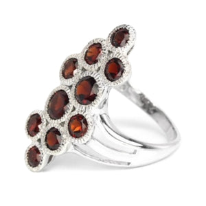 Natural Unheated Cambodian Garnet Solid 925 Sterling Silver Ring Size 7 - BELLADONNA