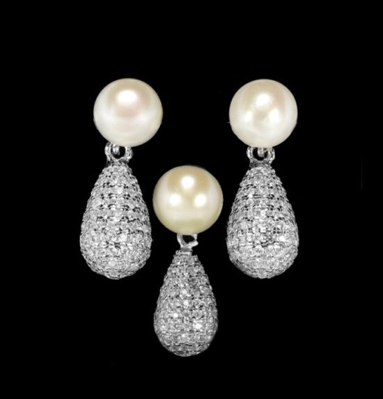Petite Pearl AAA Cubic Zirconia Solid .925 Sterling Silver Fine Pendant & Earrings Set - BELLADONNA