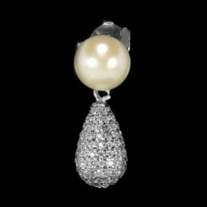 Natural White Pearl, C/Zirconia Solid .925 S/ Silver Pendant & Earrings - BELLADONNA