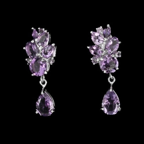 Natural 9 X7 mm Purple Amethyst Portuguese Cut .925 Sterling Silver - BELLADONNA