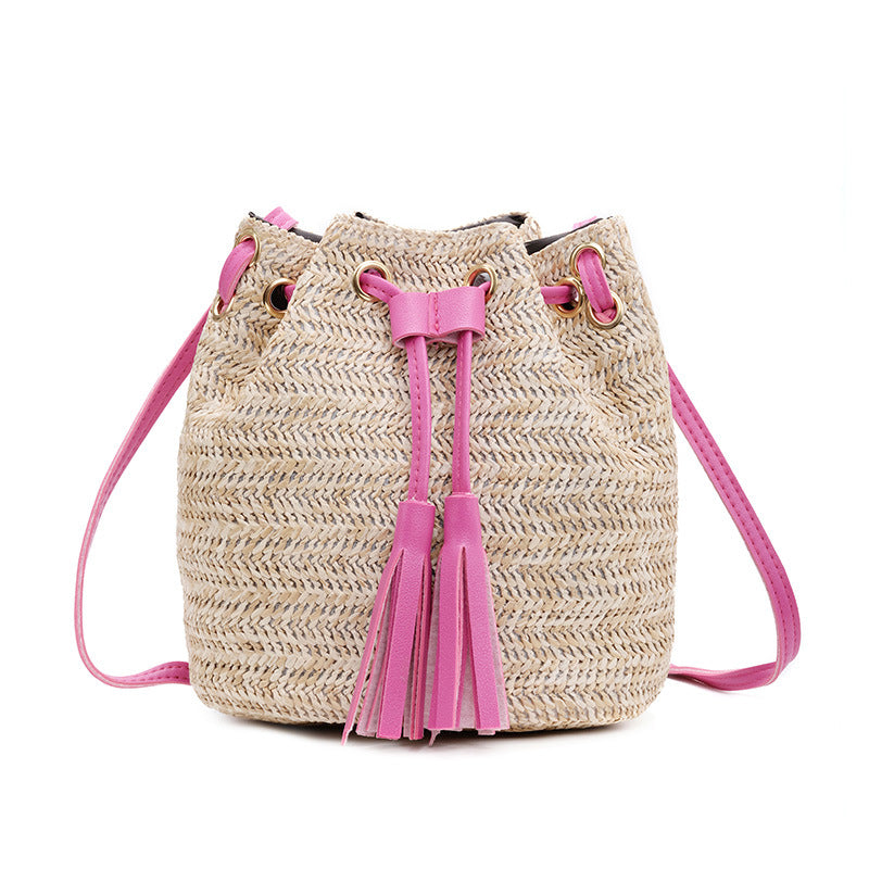 Holiday Beach Casual Woven Handbag with Leather Accents in Tan, Hot Pink, Pastel Pink