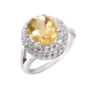 5.65 Cts Natural Sunny Citrine, White Topaz Solid .925 Silver Ring Size 8 - BELLADONNA