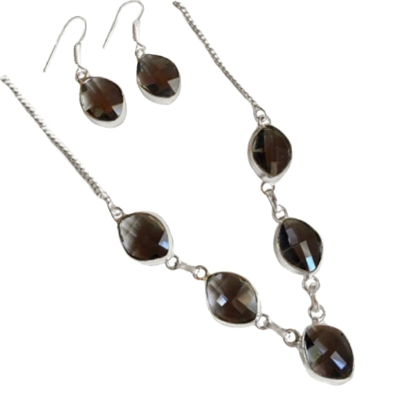 Faceted Black Spinel Gemstone .925 Silver Necklace And Earrings Set - BELLADONNA